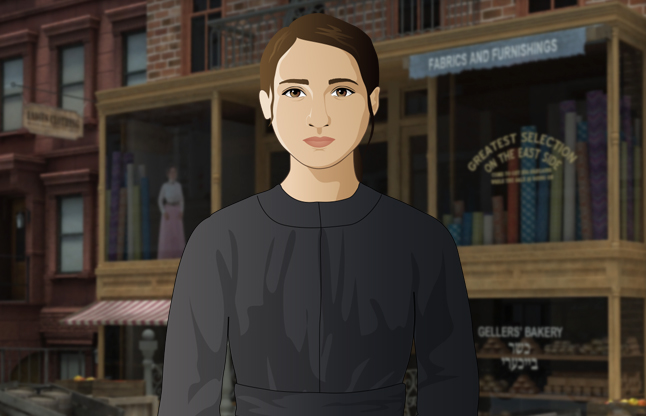 Game image of character Lena Brodsky standing in front of tenement building in Lower East Side NYC