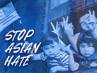"""HIstorical photo of Japanese American children holding American flag with the words """"Stop Asian Hate"""""""
